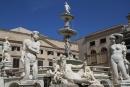 Palerme, place et fontaine Pretorio