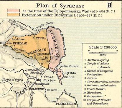 Carte de la Syracuse grecque antique