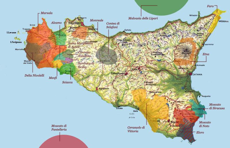 Carte des vins de sicile